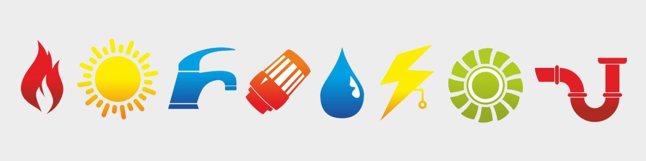 Bild zeigt mehrere Symbole aus den Unternehmensbereichen